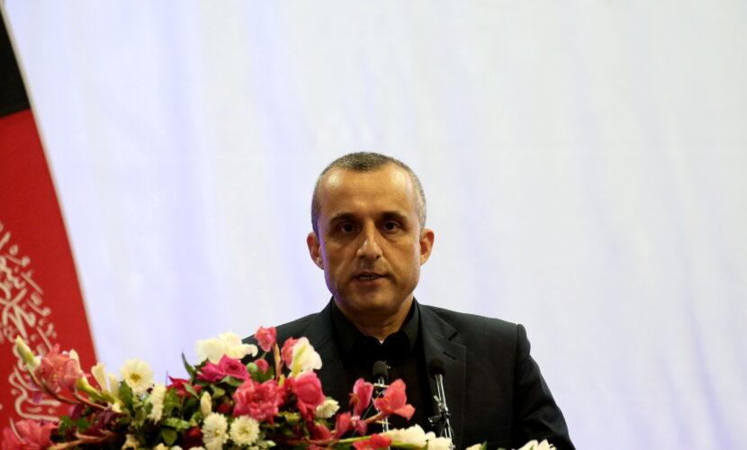 FILE PHOTO: Amrullah Saleh first vice-presidential candidate of Ashraf Ghani speaks during the presidential election campaign in Kabul, Afghanistan September 13, 2019. REUTERS/Omar Sobhani/File Photo